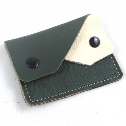 Leather coin purse kaki green and cream coloured, straw coloured sewing, 2 pockets