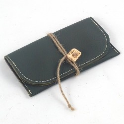 Leather tobacco pouch kaki green coloured with jute lace