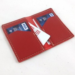 Leather card wallet pomegranate red coloured, straw color sewing