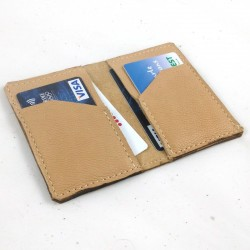 Leather card wallet beige coloured, straw color sewing