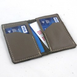 Leather card wallet taupe coloured, straw color sewing