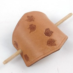 leather hair slide with vine leaf pattern