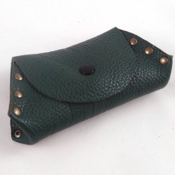 Leather coin purse forest green coloured,riveted