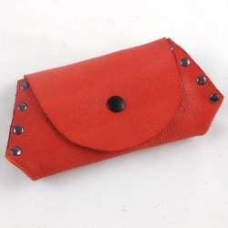 Leather coin purse coral coloured,riveted