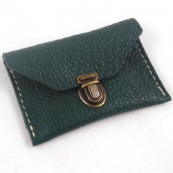 Mini leather coin purse forest green coloured