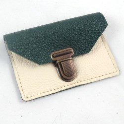 Leather coin purse forest green and cream coloured, schoolbag style, straw coloured sewing