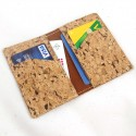 "Cork card wallet ""special for vegan"", straw color sewing"