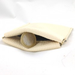Leather coin purse clic-clac cream coloured,straw coloured sewing
