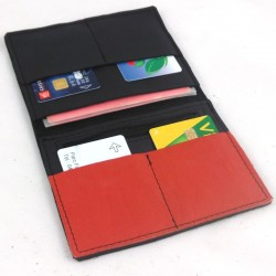 Leather wallet black and coral coloured, black color sewing