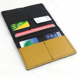 Leather wallet black and mustard coloured, black color sewing