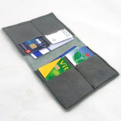 Leather wallet grey coloured, black color sewing