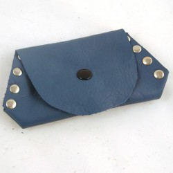 Leather coin purse prussian blue coloured,riveted