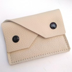 Leather coin purse cream coloured,straw coloured sewing, 2 pockets
