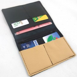 Leather wallet black and camel coloured, black color sewing