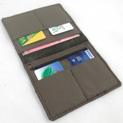 Leather wallet taupe coloured, brown color sewing