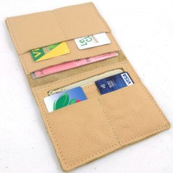Leather wallet camel coloured, straw color sewing