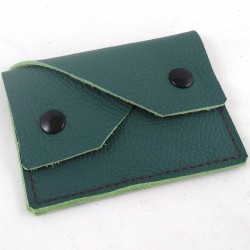 Leather coin purse forest green coloured,straw coloured sewing, 2 pockets