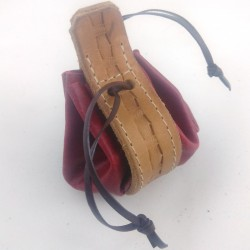 Leather purse raspberry red coloured with mulch pattern