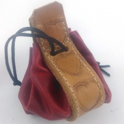 Leather purse raspberry red coloured with heart pattern