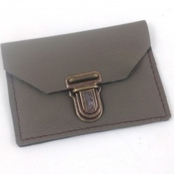 Leather coin purse taupe coloured, schoolbag style, brown coloured sewing