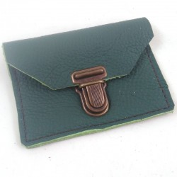 Leather coin purse forest green coloured, schoolbag style, brown coloured sewing