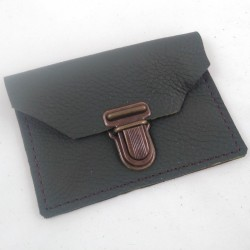 Leather coin purse kaki green coloured, schoolbag style, brown coloured sewing