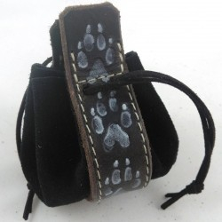 Leather purse black coloured with wolf footprint pattern on black background