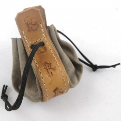 Leather purse taupe coloured with little kitty ginger coloured pattern