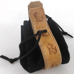Leather purse black  with little kitty  ginger coloured pattern