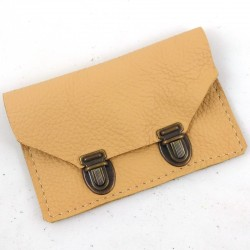 Leather wallet cream coloured, in school bag style 2 clasps