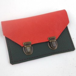 Wallet in two-tone coral and khaki-green leather, schoolbag style 2 clasps