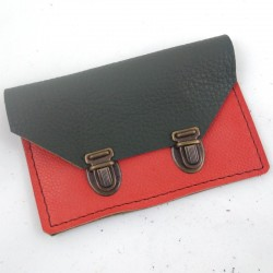 Wallet in khaki green leather and coral school bag 2 clasps