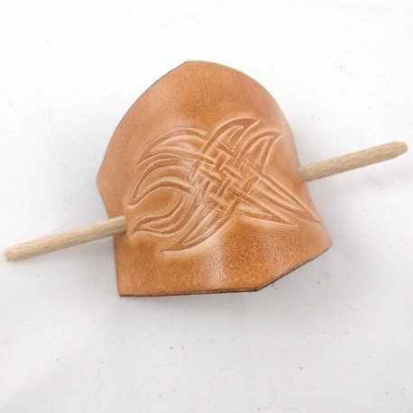 Leather hair slide with tribal pattern