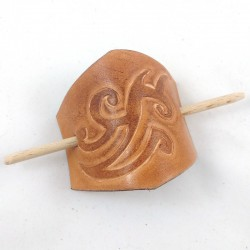 Leather hair slide with ocean wave pattern