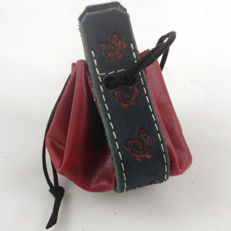 Leather purse raspberry red coloured with little red hen pattern