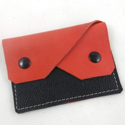 Leather coin purse coral and black coloured, straw coloured sewing, 2 pockets