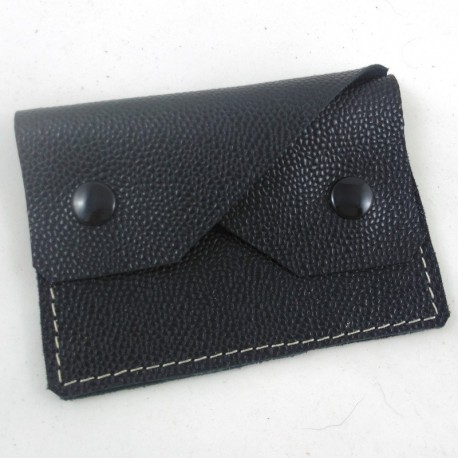 Leather coin purse black coloured, straw coloured sewing, 2 pockets