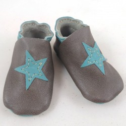 Baby leather slippers grey and turquoise coloured, star pattern