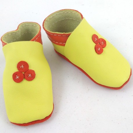 Baby leather slippers yellow and orange coloured 63ff2987b