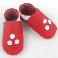 Baby leather slippers red and white coloured three points pattern