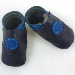 Baby leather slippers saphir blue coloured bubble pattern
