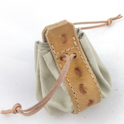 Leather purse cream coloured with range slice pattern