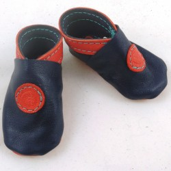 Baby leather slippers navy blue and salmon red coloured bubble pattern