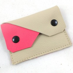 Leather coin purse cream and neon pink coloured, straw coloured sewing, 2 pockets