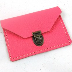 Mini leather coin purse neon pink coloured