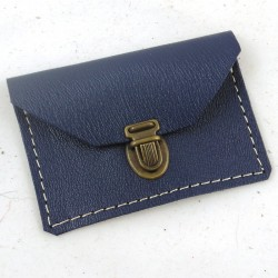 Mini leather coin purse navy blue coloured