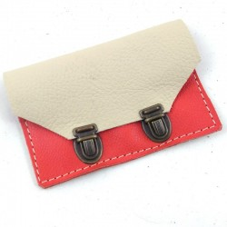 Wallet in cream  and coral leather and school bag 2 clasps