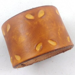 2-position elastic band in hammered leather droplets