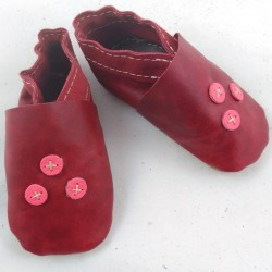 Baby leather slippers red and neon pink coloured three points pattern