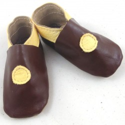 Baby leather slippers chocolate and custard coloured bubble pattern